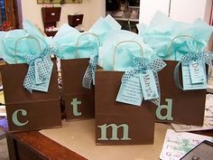 Dollar store bags, tissue paper, and one set of letters. Great for my party favor!