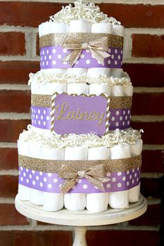 3 Tier Lavender and Champagne Gold Diaper Cake, Elegant, Baby Girl Baby Shower, … – 2019 - Baby Shower Diy Distintivos Baby Shower, Baby Shower Purple, Shower Bebe, Baby Shower Winter, Baby Shower Princess, Baby Shower Cakes, Baby Shower Themes, Baby Shower Gifts, Shower Ideas