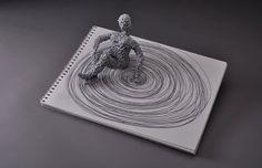 "Artist Viviana Santamarina ""Twirling"" 2010  medium: paper crochet, book  dimensions: 5"" x 12"" x 9"""
