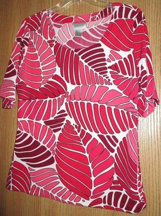 FOR SALE....click on the photo to visit our Ebay store....  #Chico's #TRAVELERS Size 1 S Shirt Top #Red White Fern Leaves Leaf Print Slinky GUC #ChicosTRAVELERS #PulloverScoopneck #Casual #fashion #cruise #womens #spring #summer