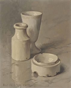 Eliot Hodgkin (British, 1905-1987), White Still-Life No. 2, 1965. Oil on canvas-board, (28.5 x 23.5 cm.