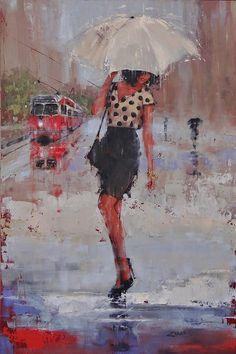 Rainy Day Blues Painting by Laura Lee Zanghetti