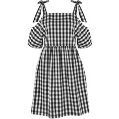 Gingham Check Cold Shoulder Dress by Glamorous Petites (315 DKK) ❤ liked on Polyvore featuring dresses, cut-out shoulder dresses, white and black dress, bow tie dress, gingham print dress and open shoulder dress