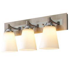 Allen + Roth 3 Light Brushed Nickel LED Bathroom Vanity Light.
