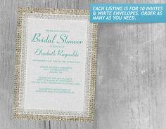 Aqua Vintage Burlap Bridal Shower Invitations