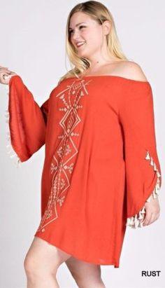 Kori-America-Plus-Size-Western-Off-The-Shoulder-Dress-Tassel-Trim-Tribal-PD1316 #Unique_Boho_Style