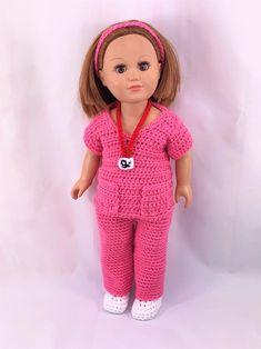 Doll Nurse Scrubs, Crochet PDF pattern, doll shoes pattern, crochet doll clothes pattern, halloween pattern – Crochet for kids gifts American Girl Outfits, American Doll Clothes, American Girls, Crochet Doll Clothes, Girl Doll Clothes, Girl Dolls, Ag Dolls, Crochet Dolls, Barbie Clothes