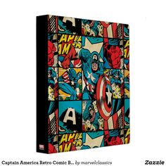 Captain America Retro Comic Book Pattern 3 Ring Binder. Personalize these Classic Marvel character designs and make perfect gifts for any fans. #marvel #comic #gifts #birthday #birthdayparty #birthdaycard #personalize #kids #shopping