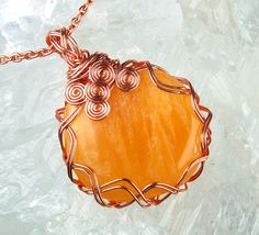 Amber Yellow Calcite Pendant Copper Wire Wrapped by StoneWyre, $75.00