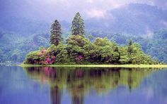 Mhor - Scottish loch home to swirling mists, purple heather and glassy waters...