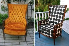 Chairloom, Furniture Makeovers (personally, i think the wood should be painted a bright yellow, red or blue)