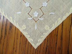 Antique Yellow Handkerchief, White Floral Applique, Linen Handkerchief, Ladies Hankies, Pull Work, Handkerchief, Vintage Handkerchief, Retro by leckaleigh on Etsy