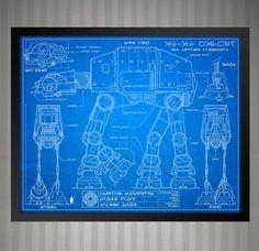 Star Wars Blueprint Style - AT-AT Walker: 8 x 10 print by KnerdKraft on Etsy