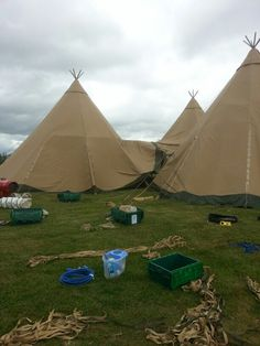 The tipis being set up on the lawns at Walkers