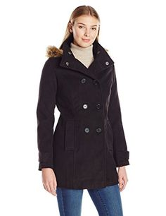 Jason Maxwell Womens Double Breasted Wool Jacket with Hood and Button Black Large * You can get additional details at the image link.(This is an Amazon affiliate link and I receive a commission for the sales)