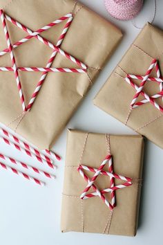 Snipped in half, paper straws form the arms of some festive shapes. All you need is a little baker's twine.  Get the tutorial at Splash of Something »