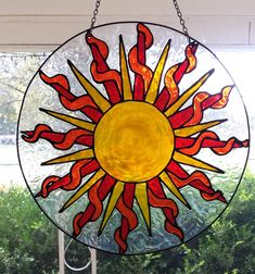 Sun flaming Stained Glass WIndow 12 inches in circumference