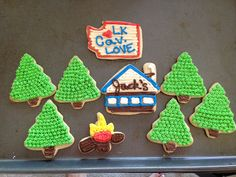 Cabin Cookies! - Trees, Washington State, Cabin and Campfire