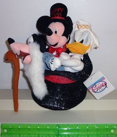 Disney Mickey Mouse Donald Duck Goofy Plush Happy 2000 Dolls in Hat Set