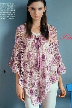 crochet poncho fleuri - bit gorgeous.  same folded rectangles with some motifs missing for neck.