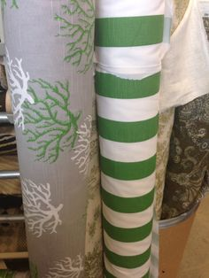 Coral and Stripe Premier prints in kelly green. Both available in other colors as well Premier Fabrics, Premier Prints, Kelly Green, Printing On Fabric, Coral, Colors, Colour, Color, Bright Green