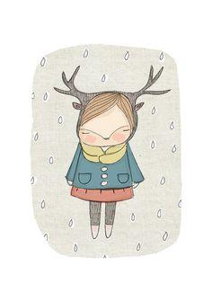 Nursery Art for Girls Room  Deer Girl  Art Print  by honeycup, $20.00