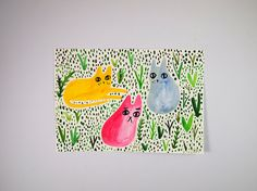Original cat watercolour - Jungle Cats  This is a one of a kind original cat watercolour painting by Toby Oliver Dean, creator of I like CATS. The