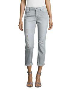 7 For All Mankind Josefina Slim Boyfriend Destroyed Jeans, Distressed Gray