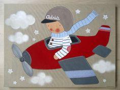 Cuadro infantil. Avioneta - Cuadro pintado a mano Bastidor de madera de 61 x46 cm, entelado con lino color piedra Motivo: Niño en avioneta Aplicaciones de tela y botones.