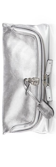 Alexander McQueen Skull Fold-Over Metallic Leather Clutch