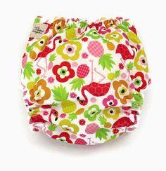 pineapple flamingo cloth diaper ai2 cloth by MiniMooseDiapers