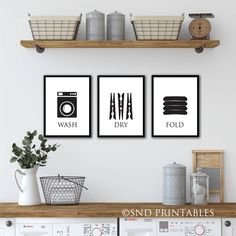 Excited to share the latest addition to my #etsy shop: Laundry Trio Printables in 8x10 and 12x16 - Digital File - Wash Dry Fold - Instant download printable art - Laundry Room Wall Art
