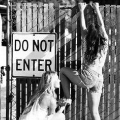 Because whenever you're together, you always get into some sort of trouble. | 37 Impossibly Fun Best Friend Photography Ideas