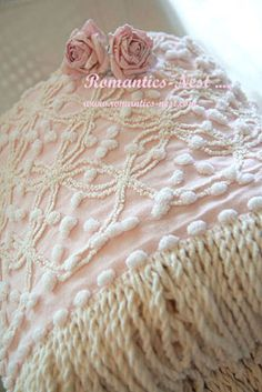 Romantics Nest, Pink, Cotton, Standard, Chenille Pillowcase with Fringe and 2 Fabric Flowers Shabby Chic Cottage, Vintage Shabby Chic, Shabby Chic Decor, Rose Cottage, Romantic Cottage, Vintage Linen, Vintage Bedspread, Chenille Bedspread, Bedroom Vintage