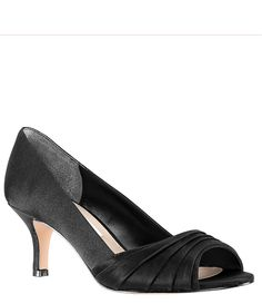 "From Nina, the Chezare Pumps feature: satin upperpeep toepleated detailslip onsynthetic liningleather outsoleApprox. 2.5"" covered heel Imported."