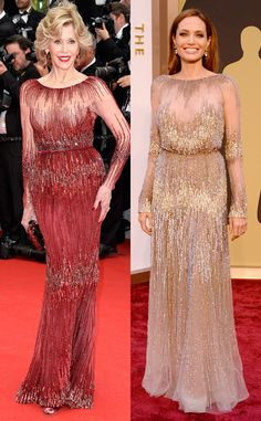 Fashion Face-Off: Angelina Jolie vs. Jane Fonda in the Same Elie Saab Sparkly Stunner Evening Dresses With Sleeves, Mob Dresses, Indian Dresses, Dresses To Hide Tummy, Haute Couture Gowns, Jane Fonda, Celebrity Red Carpet, Fashion Face, Elie Saab