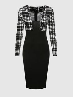 Square Neck Blended Patchwork Plaid Bodycon Dress