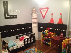 Transport/construction themed toddler boys bedroom..maybe use magnetic paint for the road on the wall?
