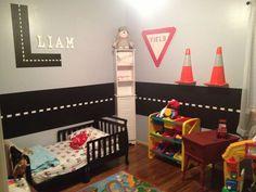 Transport/construction themed toddler boys bedroom