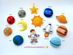 ESPACIO para niños, SOLAR sistema de imanes - precio por 1 artículo - hacer tu propio juego - espacio, el sol, Luna, tierra, Saturno, estrella, Júpiter, Marte se sentía