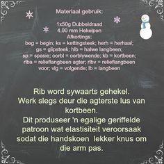 Hekel Idees: Gratis Patroon: Vingerlose Handskoene. Crochet Projects, Crochet Patterns, Personalized Items, Words, Afrikaans, Gloves, Crochet Pattern, Crochet Tutorials, Horse