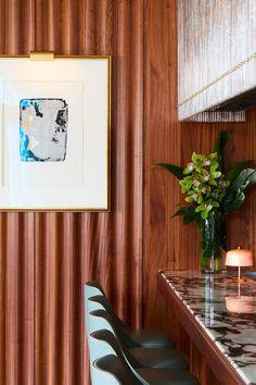 Diner Restaurant, Modern Restaurant, Restaurant Design, Commercial Interior Design, Commercial Interiors, Wooden Facade, Modern Cafe, Built In Seating, Bar Lounge