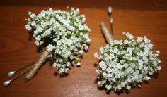 Gypsophilia buttonholes, stems wrapped with jute - Bloomin Boxes