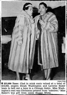 Dinah Washington and Laverne Baker Sing at Bistro While in Mink Coats - Jet Magazine, January 22, 1959
