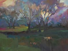 Just Landscape Animal Floral Garden Still Life Paintings by Louisiana Artist Karen Mathison Schmidt: Storm Break moody impressionist tonalist original oil painting illustration of a Louisiana landscape • sunset streaming through a break in the thunderstorm