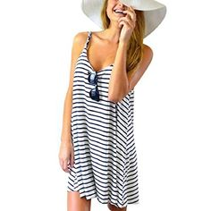 GONKOMA Women Sleeveless Striped Loose Mini Dress Beach Party Casual Sundress S * Be sure to check out this awesome product.