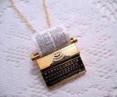 Typewriter necklace #JUSTBEAUTIFUL Cute Jewelry, Unique Jewelry, Jewelry Box, Jewelry Accessories, Fashion Accessories, Jewelry Necklaces, Fashion Jewelry, Bracelets, Nerd Jewelry
