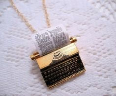 Typewriter necklace...the writer in me REALLY wants to know were this is from and buy it.