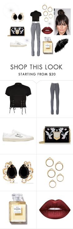 """""""Street style"""" by andi-andiandandi ❤ liked on Polyvore featuring River Island, Sonia Rykiel, Yves Saint Laurent, Jimmy Choo, Bounkit and Lime Crime"""