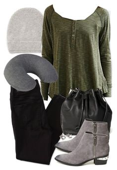 """""""Derek Inspired Travel Outfit"""" by veterization ❤ liked on Polyvore featuring moda, Vince, BDG, American Eagle Outfitters, ASOS, Circus By Sam Edelman, Grace + Scarper y American Tourister"""